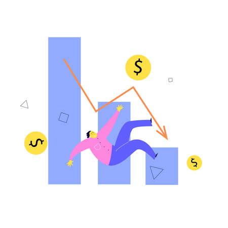 Vector illustration of man falling from stylized graph. Investment failure, business collapse, financial crisis concept.