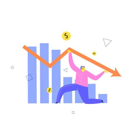 Vector illustration of man trying to keep falling financial indicator. Investment failure, business collapse, financial crisis concept.