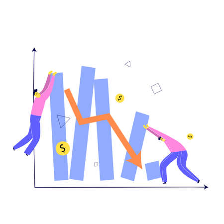 Vector illustration of two men trying to keep stylized graph from falling. Investment failure, business collapse, financial crisis concept Ilustração