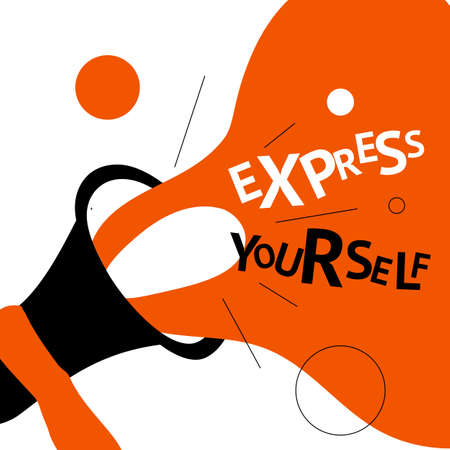 Vector illustration of loudspeaker and phrase Express yourself. Poster, banner concept.