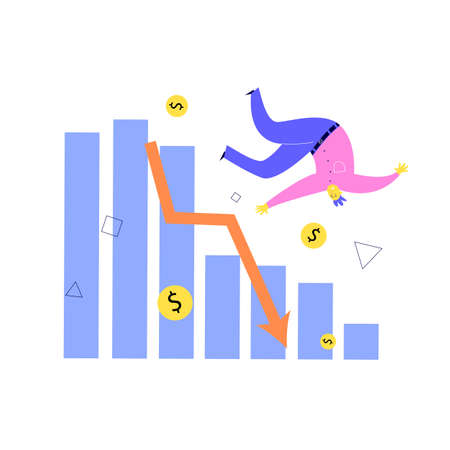 Vector illustration of man falling from stylized graph and financial indicator. Investment failure, business collapse, financial crisis concept