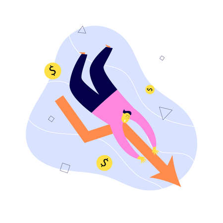 Vector illustration of man falling down with financial indicator. Investment failure, business collapse, financial crisis concept Ilustração