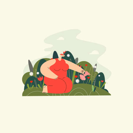 Vector flat illustration of a woman sitting on her lap in the garden and watering flower. Ilustração