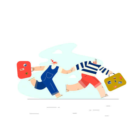 Men and woman running toghether this suitcases. Hurring couple. Vector illustration , isolated on white background