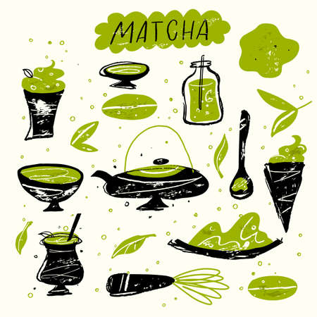 Matcha. Vector doodle illustration of matcha tea products. Japanese tea ceremony.