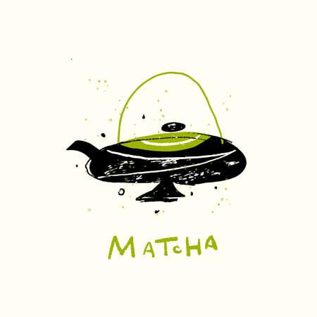 Matcha. Vector doodle illustration of teapot. Japanese tea ceremony. Ilustração
