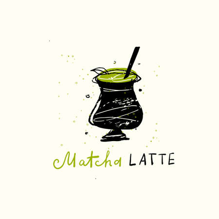 Matcha latte Vector doodle illustration of funny matcha mug.