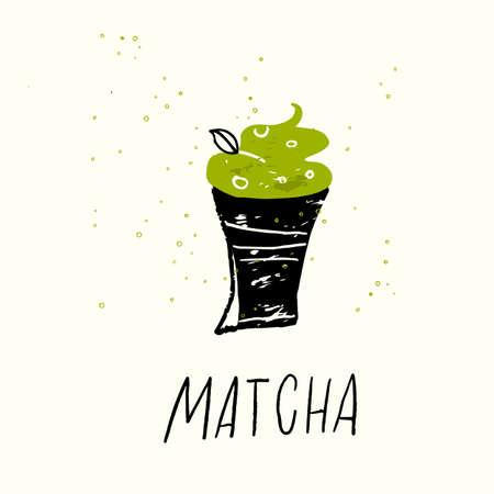 Matcha. Vector doodle illustration of matcha dessert.