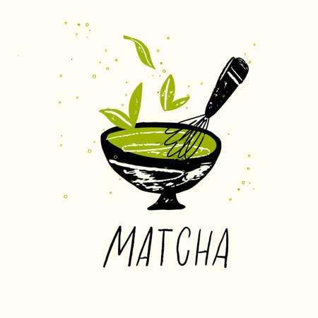 Matcha. Vector doodle illustration of matcha tea bowl