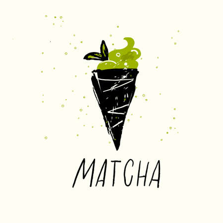 Matcha. Vector doodle illustration of matcha ice cream