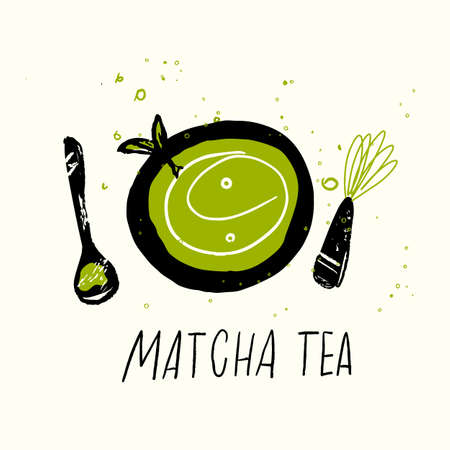Matcha tea set. Vector doodle illustration. Japanese tea ceremony Ilustração