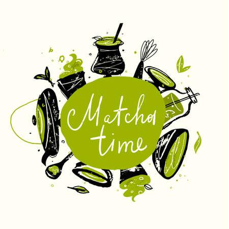 Matcha time. Vector doodle illustration of matcha tea products. Japanese tea ceremony. Illustration