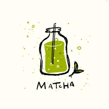 Matcha. Vector doodle illustration of matcha drink in funny jar. Imagens - 148712793