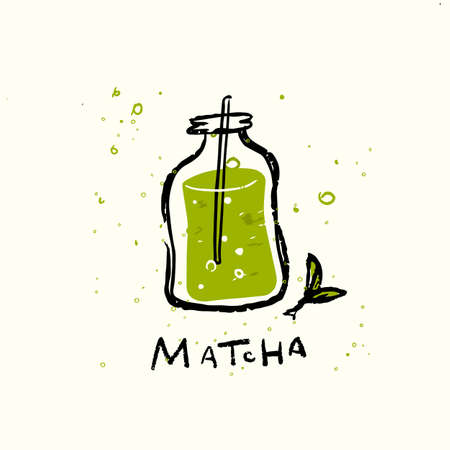 Matcha. Vector doodle illustration of matcha drink in funny jar.