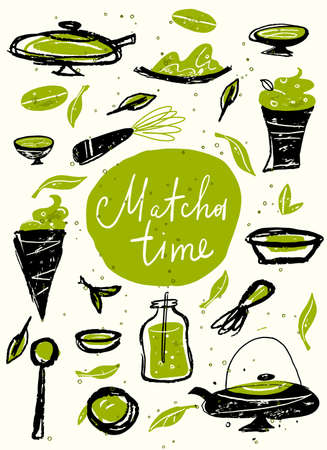 Matcha time. Vector doodle illustration with matcha products. Japanese tea ceremony. Template, poster, banner.