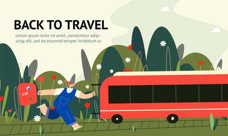 Woman with suitcase trying to catch the train. Back to travel. Web banner.