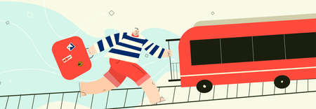 Man trying to catch the train with suitcases. Vector illustration , isolated on white background. Horizontal banner. Illustration