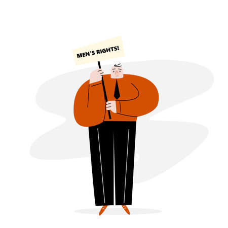 A men staying with banner. Protest movement. Mens rights. Vector flat illustration.
