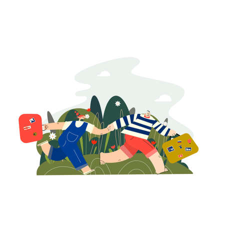 A couple running to travel with their suitcases. Vector flat illustration
