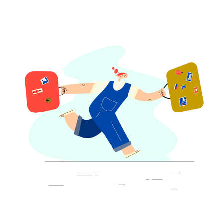 Woman running with uitcases. Hurring couple. Vector illustration , isolated on white background.