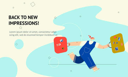 Woman running with uitcases. Vector flat illustration , isolated on white background. Web banner. Illustration