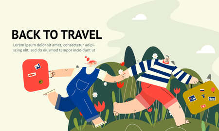 Men and woman running toghether this suitcases. Hurring couple. Back travel. Web banner Illustration