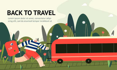 Men with suitcase trying to catch the train. Back to travel. Web banner. Ilustração