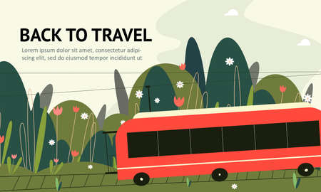 Vector flat illustration of train and beautiful nature background. Web banner. Illustration
