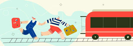 Men and woman running after train with their suitcases. Vector illustration. Horizontal banner. Imagens - 150924442