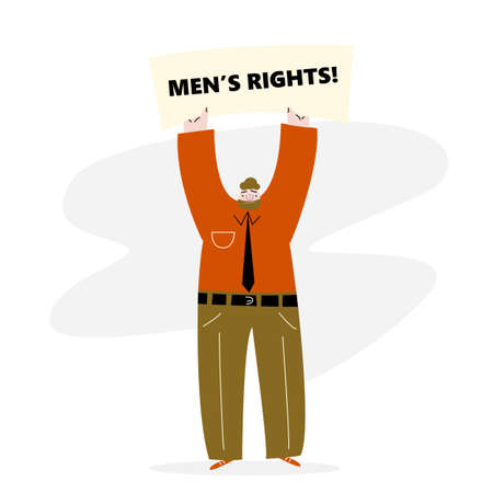 Man holding up the banner with text Mens right. Protest movement. Vector illustration Ilustração