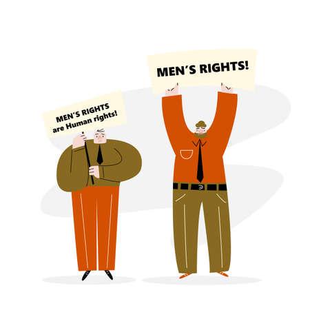 Vector illustration of protesting man. Man rights movement Illustration