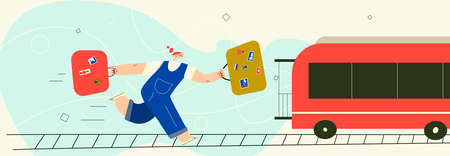 Woman running after train with suitcases. Vector illustration , isolated on white background. Horizontal banner