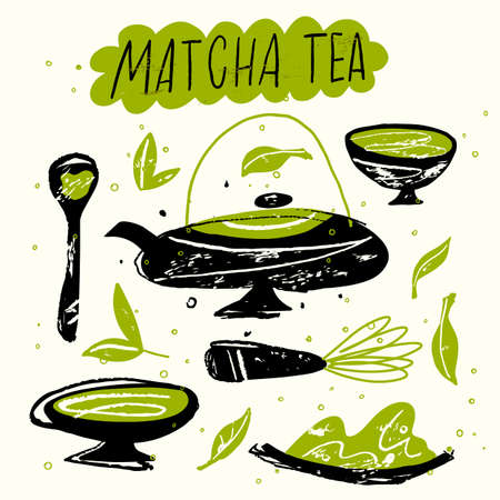 Matcha tea. Vector doodle illustration. Japanese tea ceremony