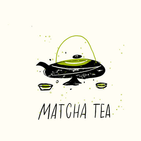 Matcha tea. Vector doodle illustration of teapot and cuos. Japanese tea ceremony. Imagens - 150886653