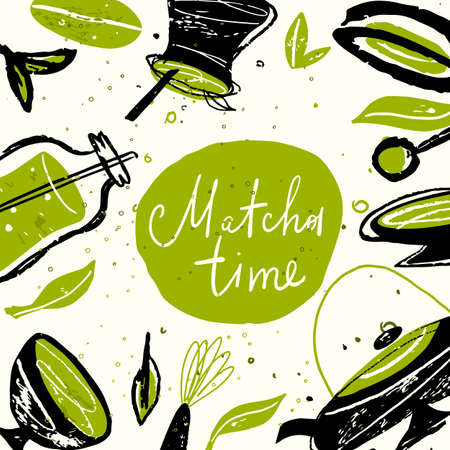 Matcha time. Vector doodle illustration with matcha products. Japanese tea ceremony. Template