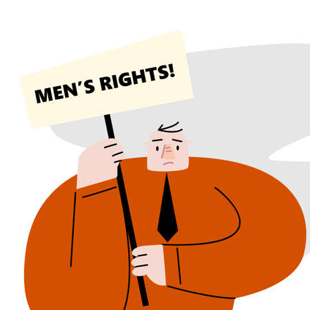 Funny flat vector illustration of man with banner and text Mens rights. Protest movements Ilustração