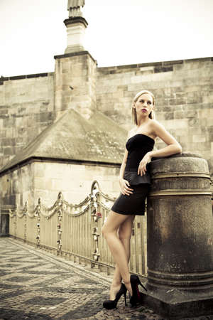 outdoor glamour: outdoor fashion - beautiful young blond girl Stock Photo