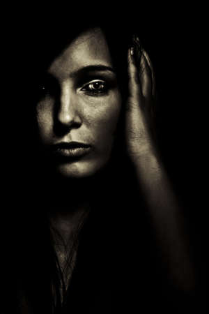 horror expression dark young girl face photo