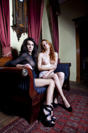 red breast: two sexy girls at luxury interior and sofa