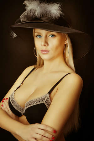 nice breast: beautiful sexy blonde girl in black bra, big breasts Stock Photo