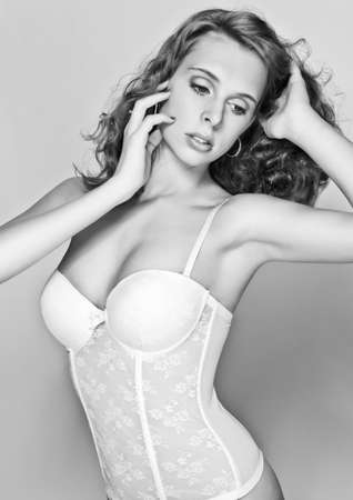 black and white romantic sexy beautiful girl in corset photo