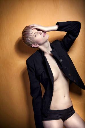 glamour fashion pose, beautiful young blonde girl photo