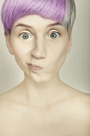 hair style colorful emotive beautiful girl portrait photo
