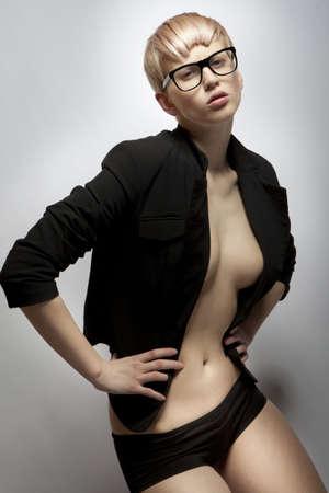 glamour fashion beautiful blonde girl in black photo