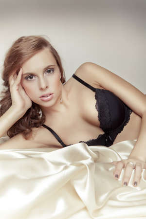 hand bra: attractive sexy girl with bra relax in bed