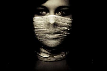 emotion expression dark girl face, bright eyes Stock Photo