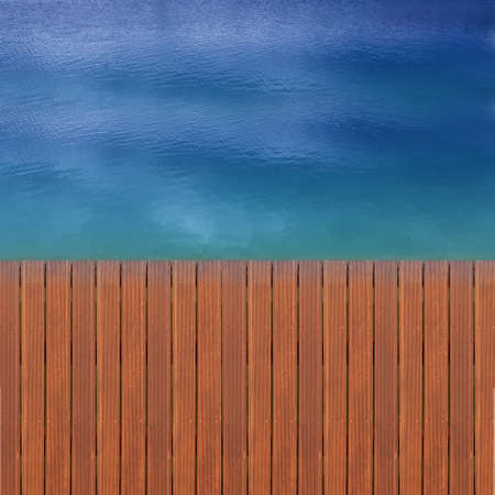 Wooden wharf and blue water photo