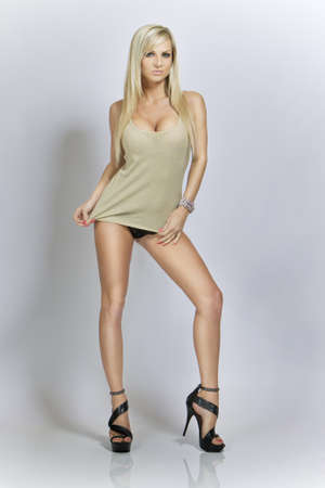 breasts erotic: sexy blond girl, big breasts Stock Photo