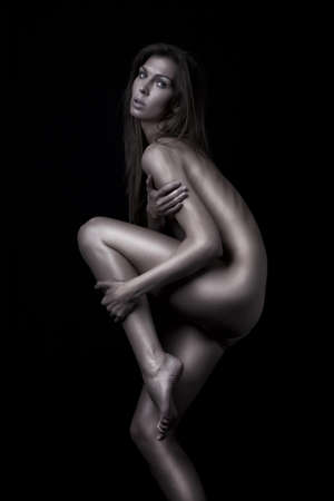 anatomy naked woman: dark glamour slim nudes attractive girl