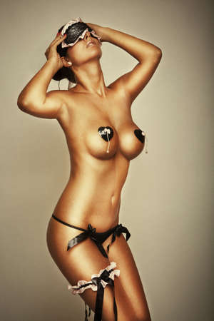 lust sexy lingerie glamour girl with big breasts Stock Photo
